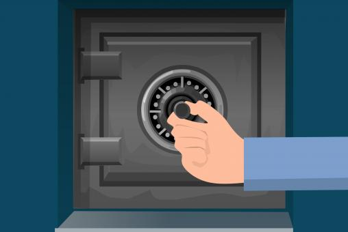 Free Stock Photo of Hand Opening Safe