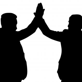 Free Stock Photo of High Five Silhouette