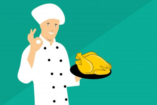 Free Stock Photo of Illustration of Chef Showing Chicken