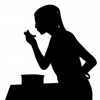 Free Stock Photo of Woman Tasting Food Silhouette