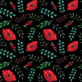 Free Stock Photo of Leaves and Poppies Pattern