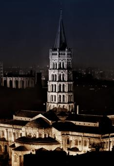 Free Stock Photo of Basilica of Saint Sernin at Night - Toulouse - France