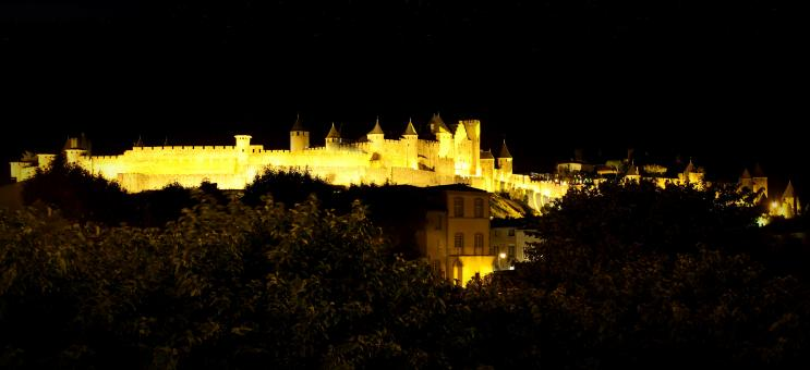 Free Stock Photo of Carcassonne - France - Carcassonne Citadel at Night