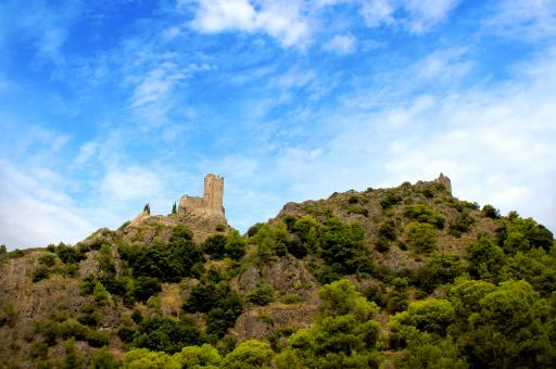 Free Stock Photo of Chateaux de Lastours from Afar - Famous Cathar Castle