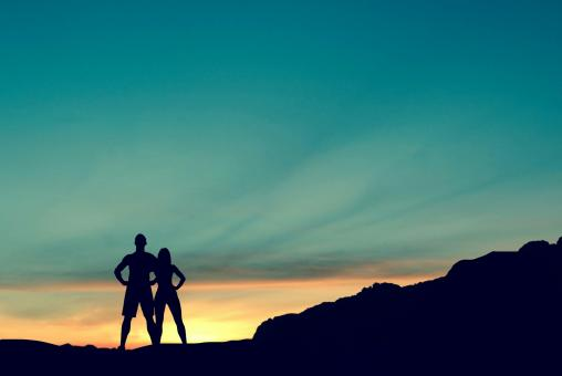 Free Stock Photo of Couple on Mountain
