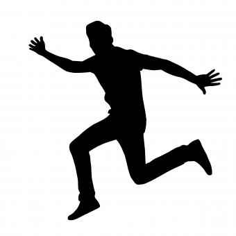 Free Stock Photo of Excited Jumping Man Silhouette