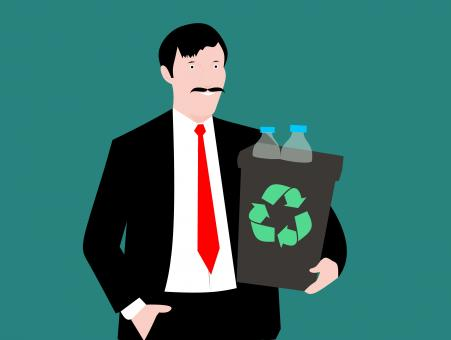 Free Stock Photo of Man Holding Recycle Bin