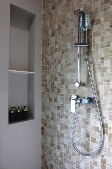 Free Stock Photo of Chrome shower unit in a bathroom