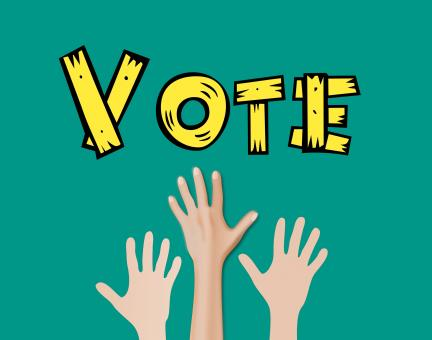 Free Stock Photo of Hand Raised for Voting - Illustration