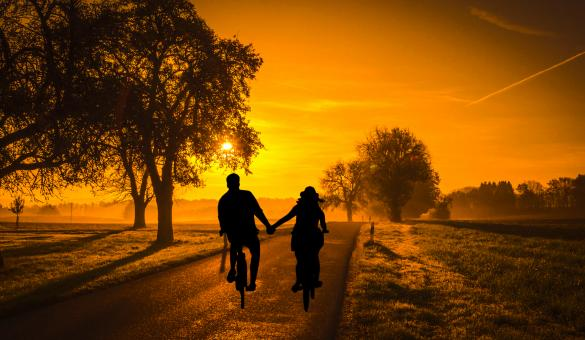 Free Stock Photo of Couple Riding Bicycles into Sunset