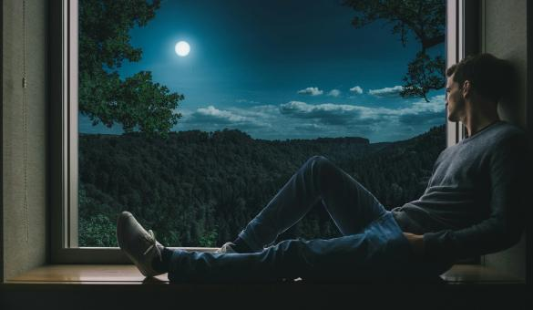 Free Stock Photo of Night Thinking