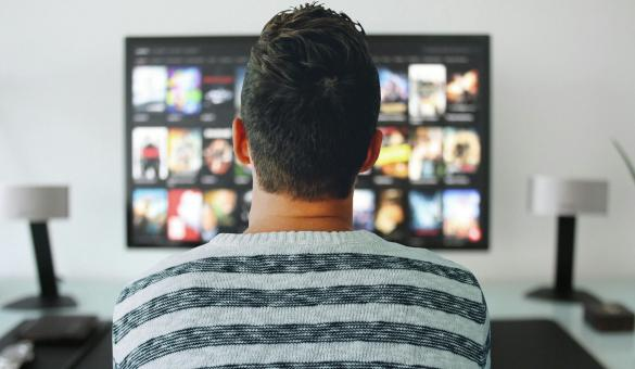 Free Stock Photo of Man Watching TV