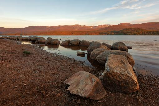 Free Stock Photo of Golden Hour of Loch Morlich
