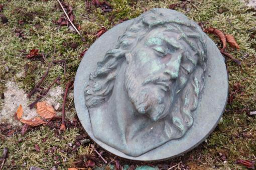 Free Stock Photo of Bronze bas-relief on a grave