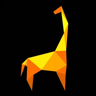 Free Stock Photo of Yellow Polygonal Giraffe