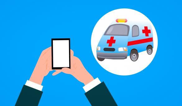 Free Stock Photo of Calling an Ambulance with Smartphone