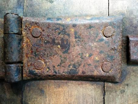 Free Stock Photo of Abstract close up detail of a rusty old metal hinge