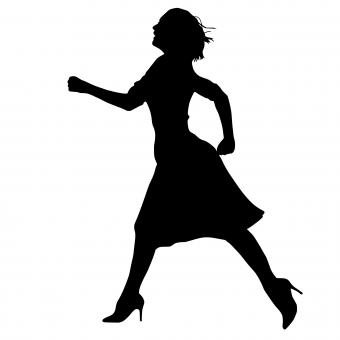 Free Stock Photo of Woman Silhouette Running