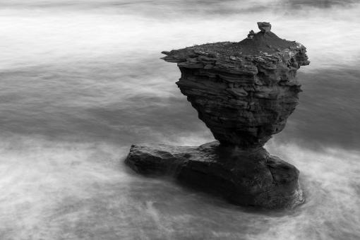 Free Stock Photo of Fluid Teapot Rock - Black & White