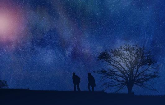 Free Stock Photo of Men Talking Under Night Sky - Intimate Talk
