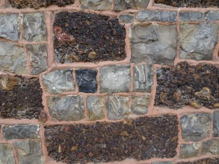 Free Stock Photo of Wall made of cut flint and pudding stone