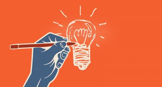 Free Stock Photo of Hand Drawing Lightbulb - With Copyspace