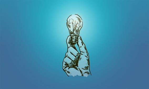 Free Stock Photo of Drawing of Hand Holding a Lightbulb
