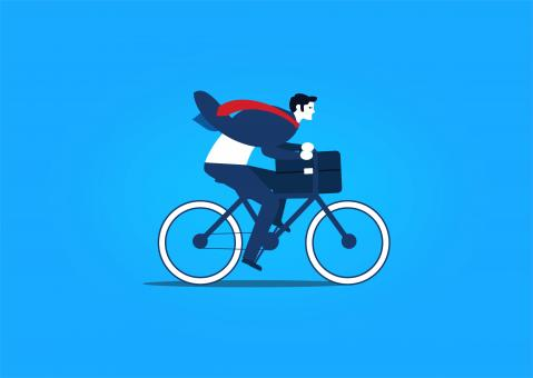 Free Stock Photo of Businessman Riding a Bike