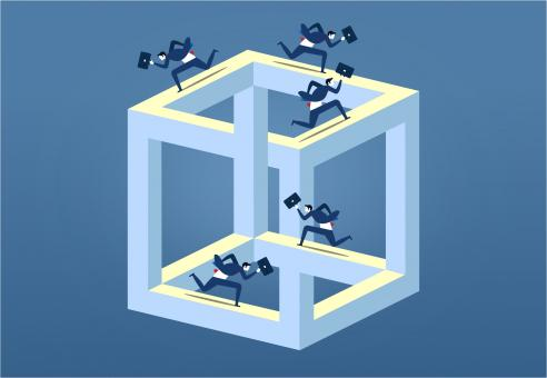 Free Stock Photo of Businessmen Running On Impossible Cube - Corporate Life Metaphor