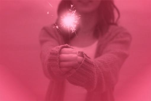 Free Stock Photo of Girl Holding Sparkler - Happiness and Joy Concept