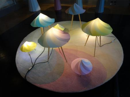 Free Stock Photo of Designed lampshades in a design exhibition