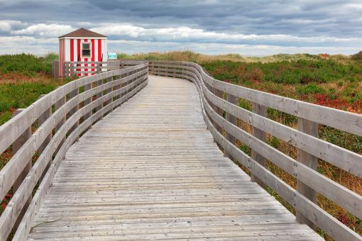 Free Stock Photo of Candy Cane Beach Boardwalk