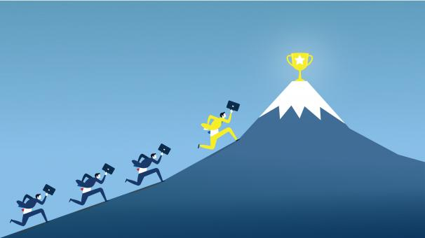 Free Stock Photo of Businessmen Climbing Mountain - Trophy