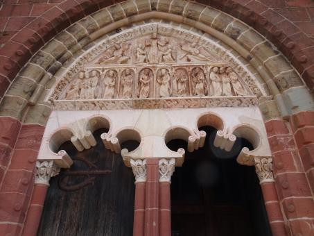Free Stock Photo of Entrance of the red village's church