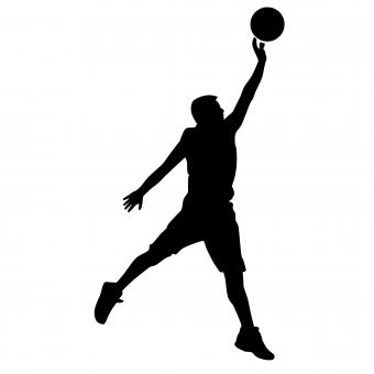 Free Stock Photo of Basketball Player Silhouette