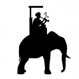 Free Stock Photo of Elephant Riding Silhouette
