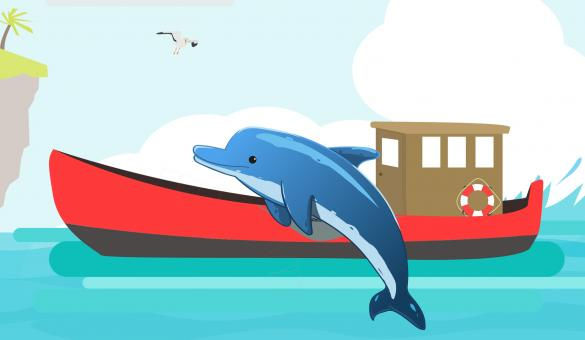 Free Stock Photo of Dolphin Illustration