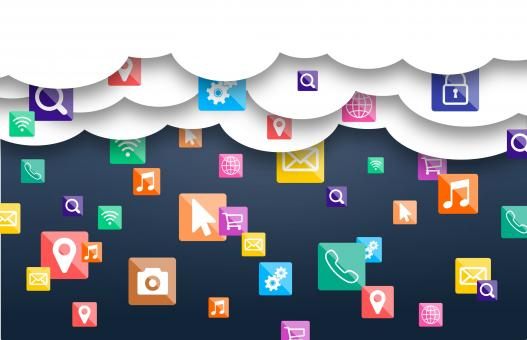 Free Stock Photo of Mobile Apps in the Cloud - Raining Application Icons