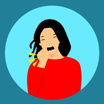 Free Stock Photo of Woman Coughing Illustration