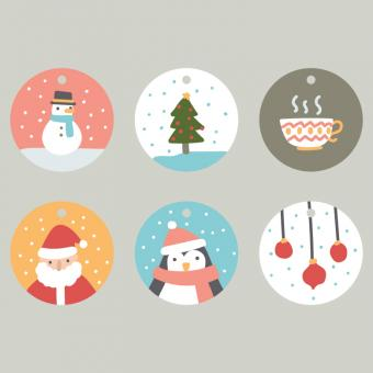 Free Stock Photo of Circled Christmas Tags