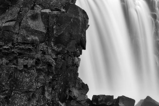Free Stock Photo of Axeman Falls - Black & White