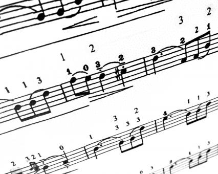 Free Stock Photo of Sheet music notes in a song