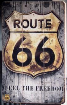 Free Stock Photo of Vintage Wooden Route 66 Sign