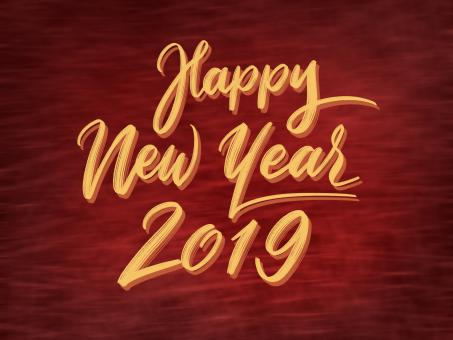 Free Stock Photo of Happy New Year 2019 Yellow Text