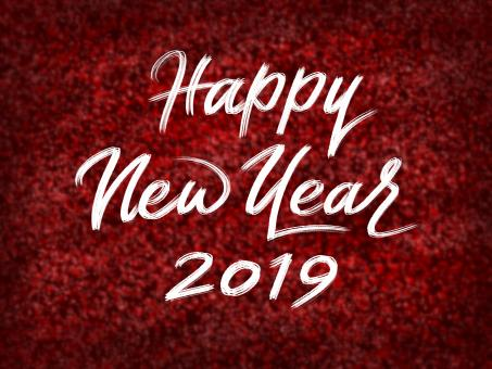 Free Stock Photo of Happy New Year 2019 on Red