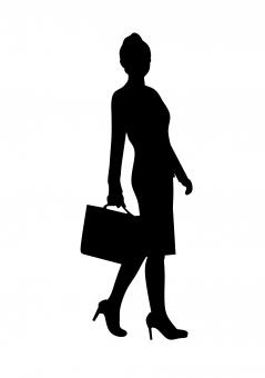 Free Stock Photo of Walking Businesswoman Silhouette
