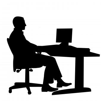 Free Stock Photo of Businessman at Office Silhouette