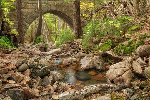Free Stock Photo of Acadia Carriage Bridge Stream