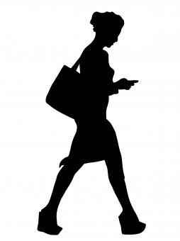 Free Stock Photo of Walking Woman Silhouette