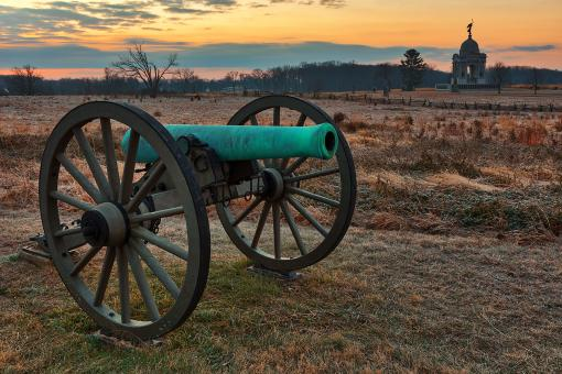 Free Stock Photo of Gettysburg Cannon Dawn